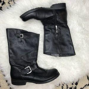 guess • black leather raissa moto boots